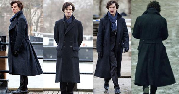 Benedict Cumberbatch con el abrigo de Sherlock