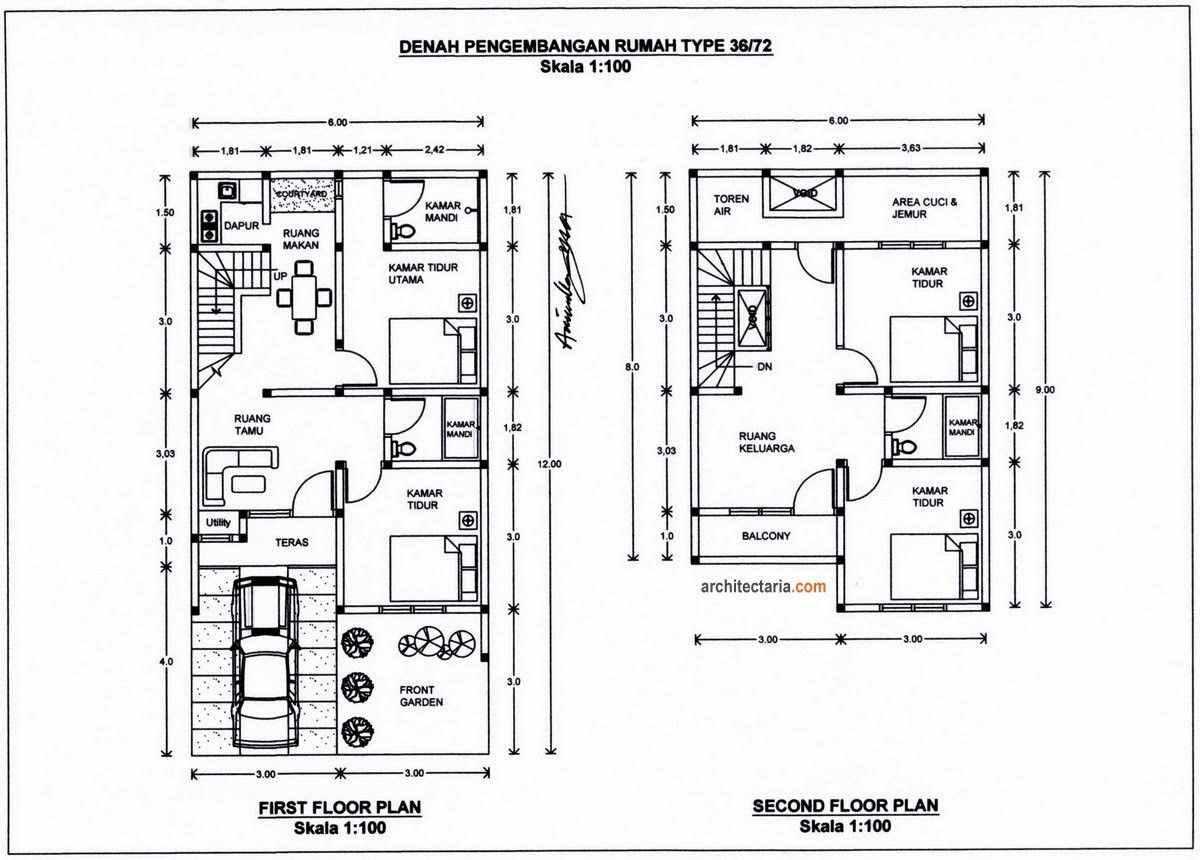 desain denah rumah type 36 2 lantai unik