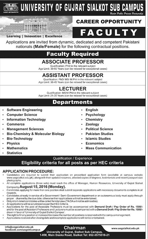 Teaching Jobs in Pakistan University of Gujrat Jobs