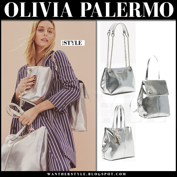 Olivia Palermo in striped blue shirt with silver bags Max&Co ad campaign Spring 2017 what she wore