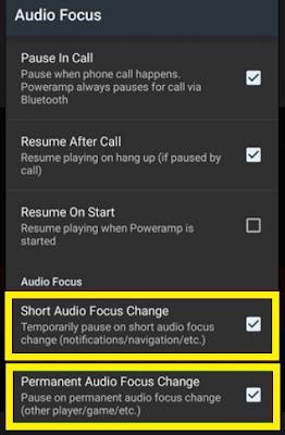 Poweramp Audio Focus Settings