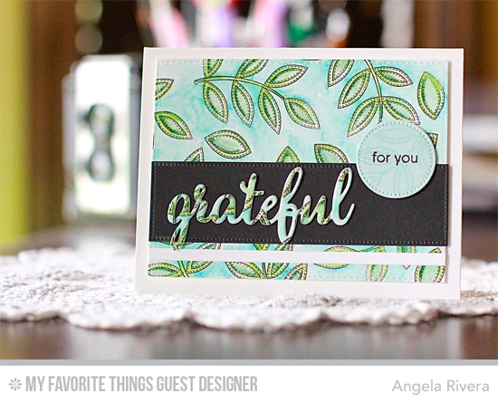Handmade card from Angela Rivera featuring Grateful for You and Funky Flowers stamp sets,  Pierced Fishtail Flag STAX and Blueprints 29 Die-namics #mftstamps