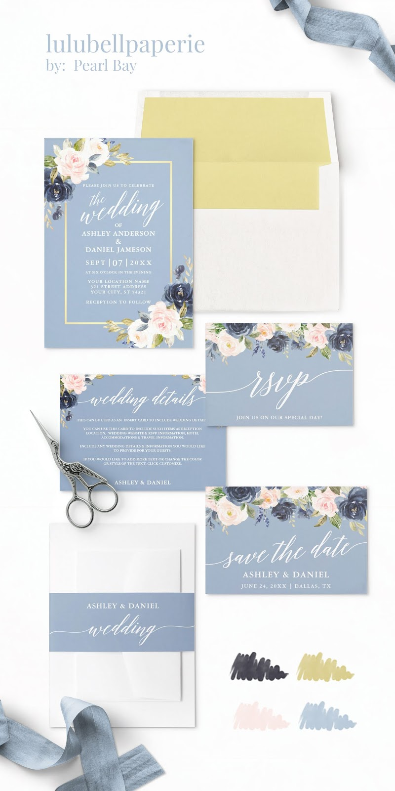 Dusty Blue Blush Pink Navy and Gold Watercolor Floral Wedding Invitation Suite