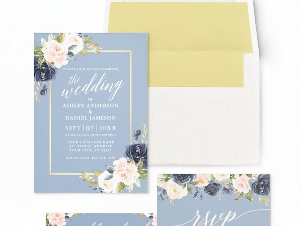 Dusty Blue Navy Gold & Blush Wedding Color Palette - Inspiration Invitations and Free Favor Tags