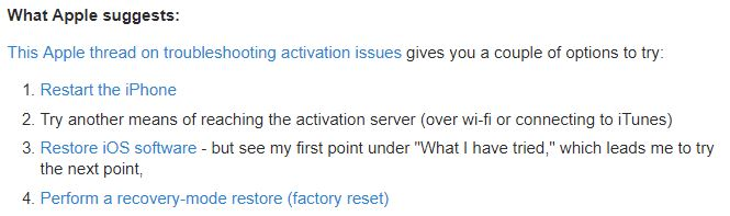 iphone cannot be activated because activation server is temporarily unavailable