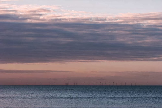Wind Farm (one of the many wind farms at sea, in evening light)