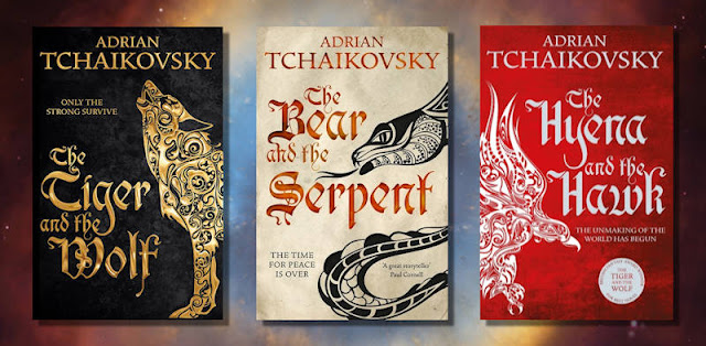 Book covers for the Echoes of the Fall Trilogy by Adrian Tchaikovsky