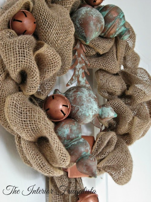 Rustic Holiday Wreath with oxidized copper embellishments