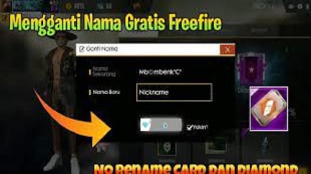 cara mengganti nama ff gratis