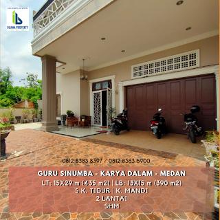 Jual cepat rumah mewah SEMI FURNISHED di Jl. Guru Sinumba - Karya Dalam Medan