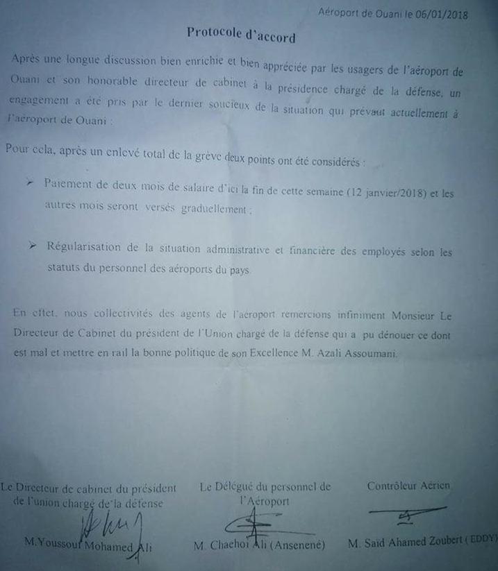 L'aéroport d'Ouani sera fermé pour cause d'arriérés de salaire
