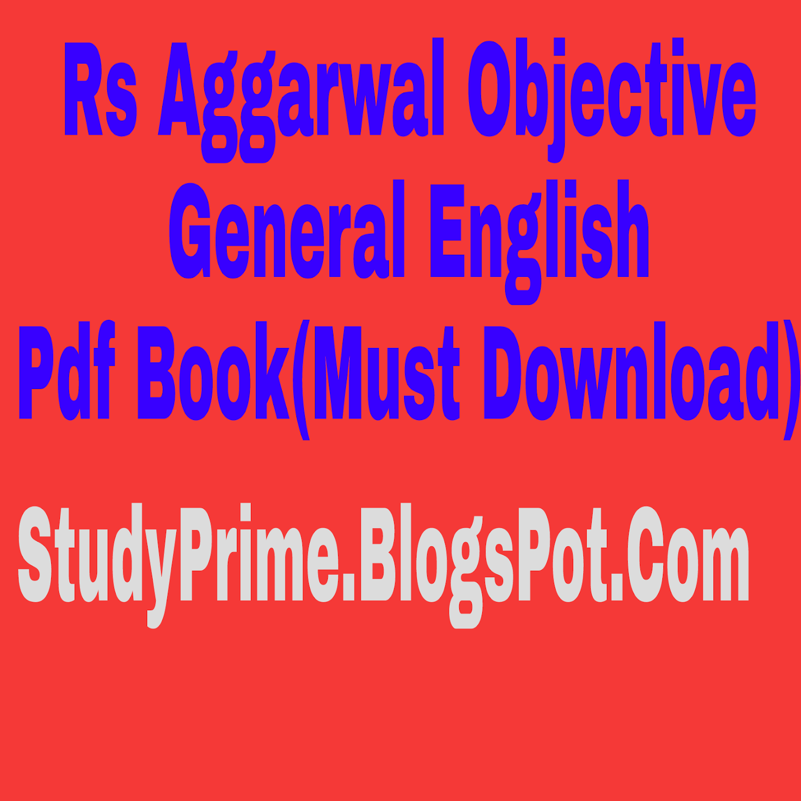 Rs Agarwal English Grammar Book Pdf