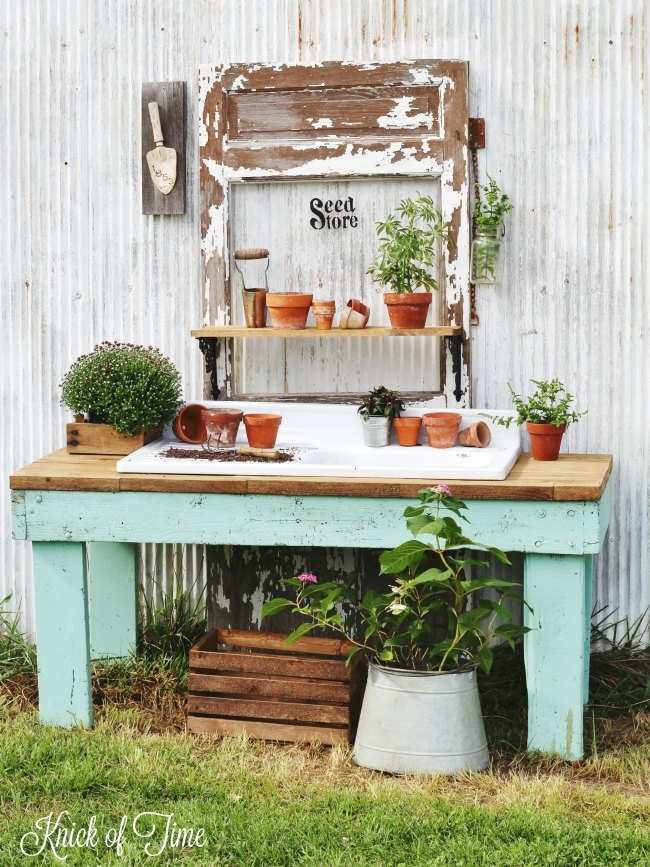 Potting Bench From Old Work Table | from Knick Of Time| One More Time Events www.onemoretimeevents.com