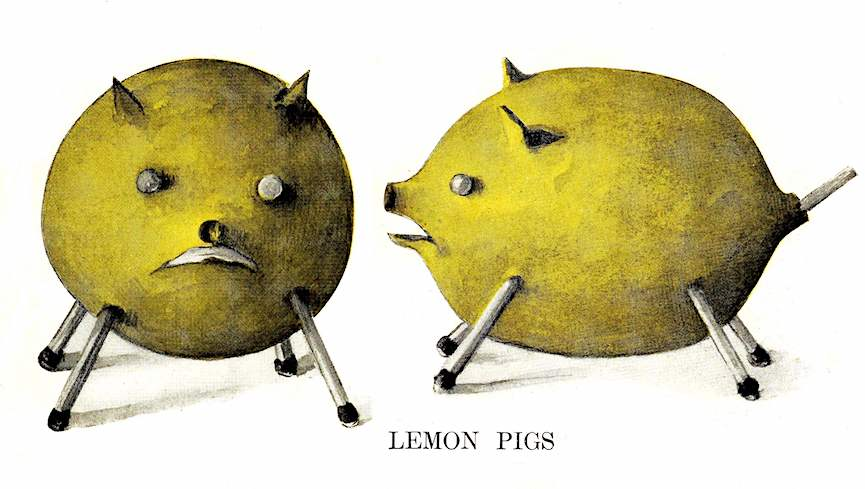 Lemon Pigs 1906, home made toys, color illustration