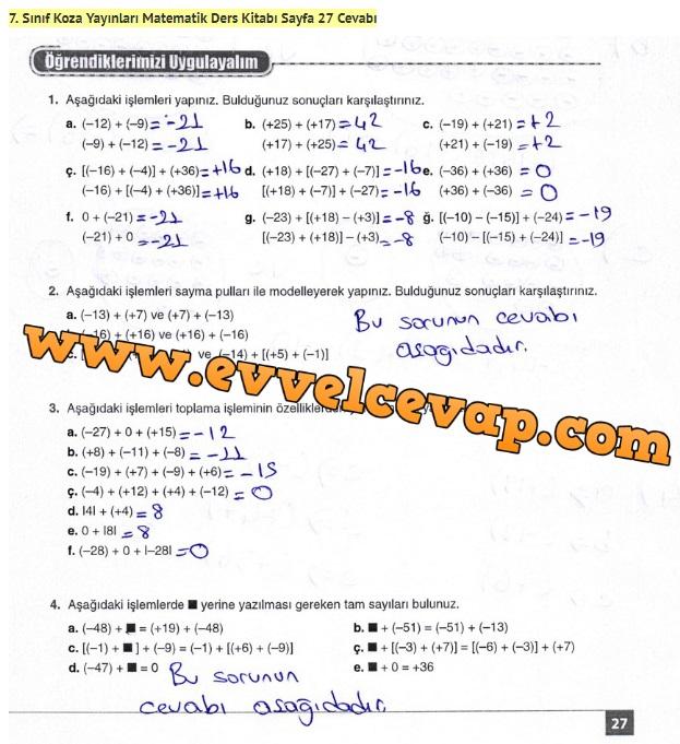 7. Sınıf Matematik Ders Kitabı Cevapları Koza Yayınları Sayfa 27