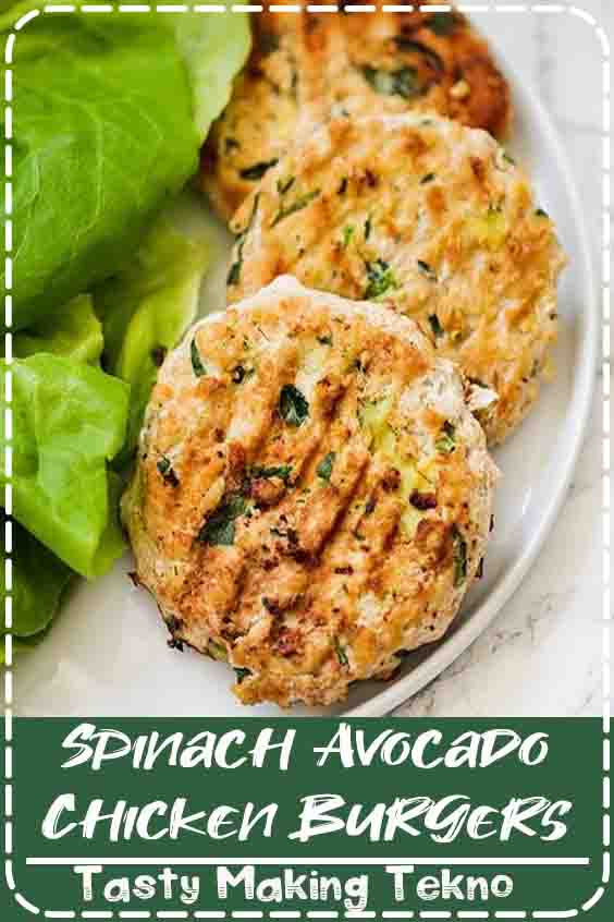 These paleo spinach avocado chicken burgers are the ultimate healthy burger. They're packed with healthy fats, protein, and even hidden veggies. Make them on a weeknight, or serve them at a backyard cookout. They're paleo, Whole30, and AIP!