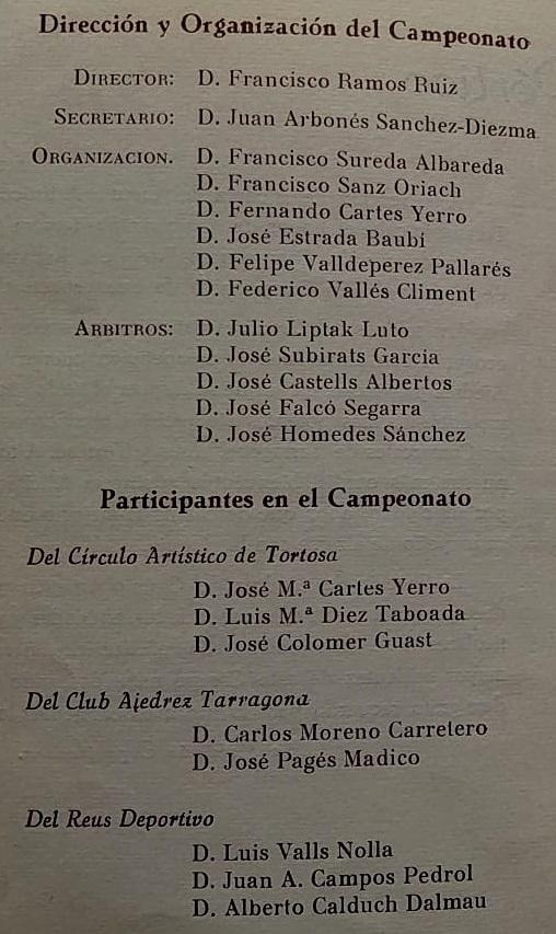 Página 3 del boletín del VIII Campeonato Provincial de Tarragona-1966