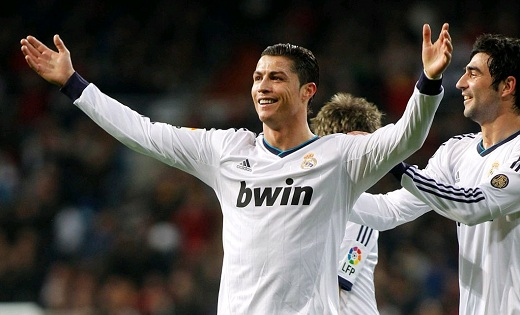 Cristiano Ronaldo happy with his hat-trick against Sevilla in the Bernabeu Stadium