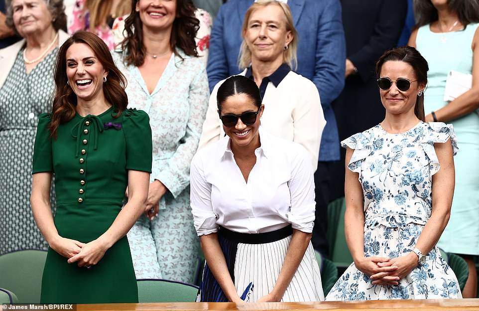 Kate and Meghan seemed to be in fits of laughter as they enjoyed a convivial afternoon out in the Royal Box with the Duchess of Cambridge's younger sister Pippa