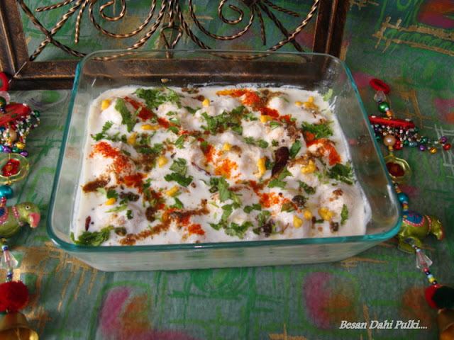 images of Besan Dahi Phulki /  Dahi Phulki / Gram Flour Dumplings In Yogurt Sauce
