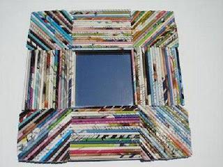 Resultado de imagen para espejo decorado con papel periodico