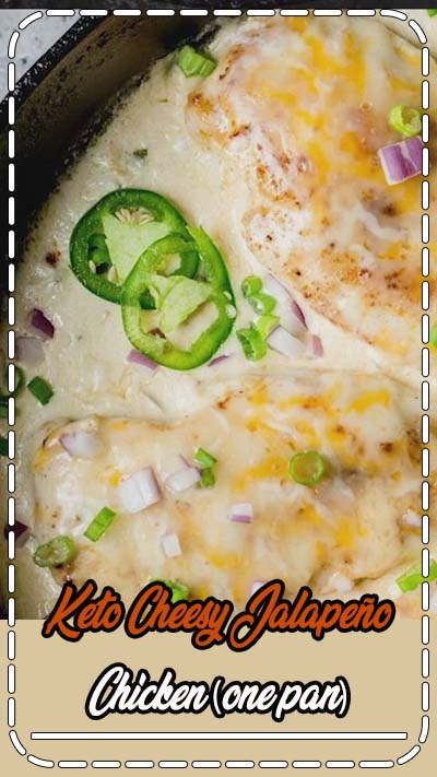 This One Pan Cheesy Jalapeño Chicken is the perfect easy keto dinner with just 5 net carbs! This recipe is perfect for busy nights and easy keto meal prep! #keto #mealprep #onepan