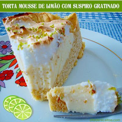 Torta mousse de limão com suspiro gratinado