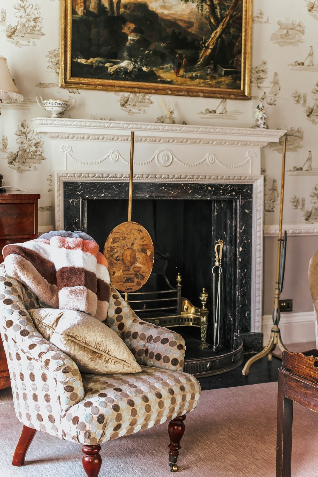Ston Easton Park Hotel South East Room Fireplace