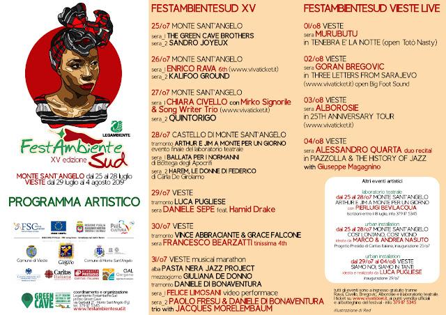 Monte Sant'Angelo, tutto il programma musicale e artistico di FestambienteSud XV