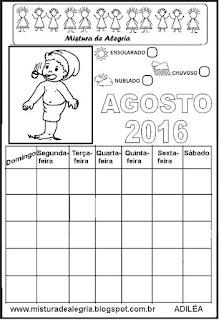 Calendário agosto 2016 colorir