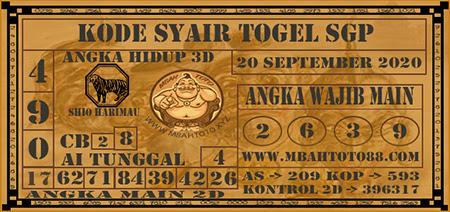 Prediksi Togel Mbahtoto Singapura Minggu 20 September 2020