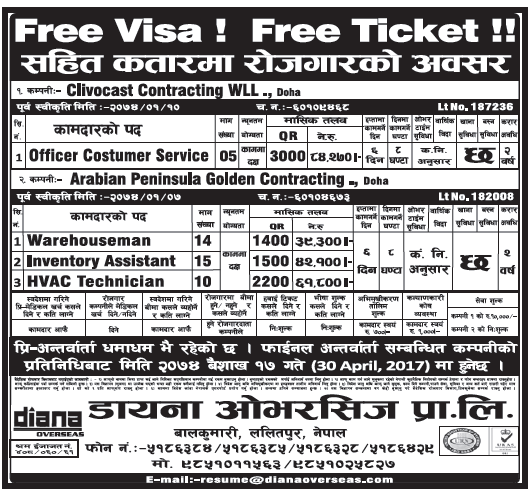 Free Visa Free Ticket Jobs in Qatar for Nepali, Salary Rs 84,270