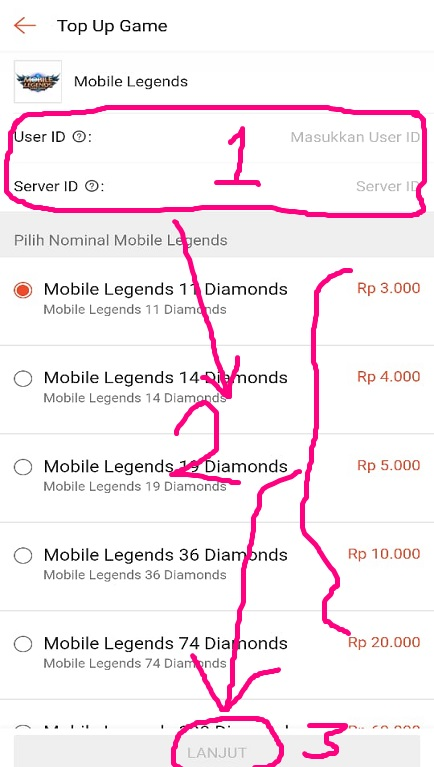 Mengisi Data Pembelian Voucher Game Mobile Legends di Shopee.