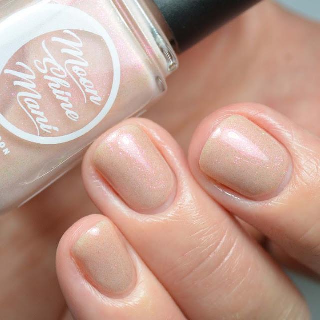 peach shimmer nail polish swatch