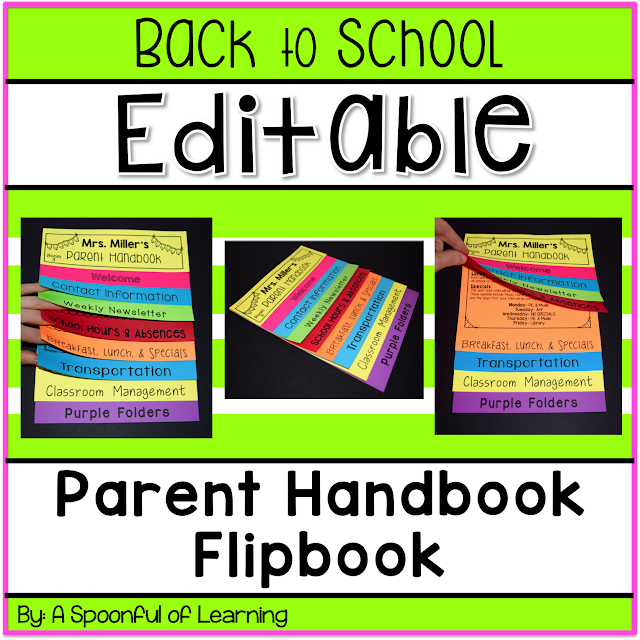 A spoonful of learning back to school parent handbook for Html flip book template