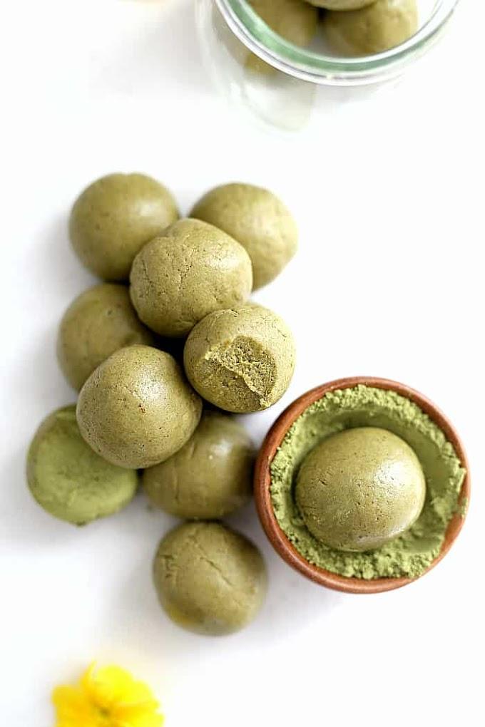 Matcha Green Tea Energy Bites #matcha #healthyrecipes #easy #paleo #lowcarb