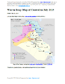 Detailed map of territorial control in Iraq as of July 23, 2015, including territory held by the so-called Islamic State (ISIS, ISIL), the Baghdad government, and the Kurdistan peshmerga. Includes recent flashpoints including Ramadi, Baiji, Habaniyah, Jalawla, and Walid border crossing.