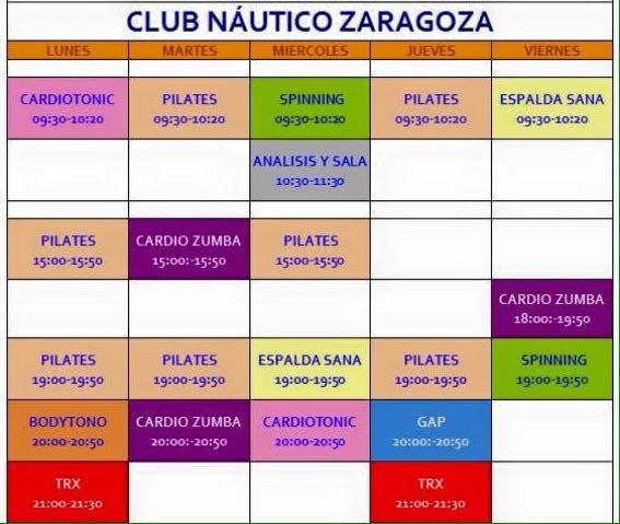 Club n utico zaragoza horarios de actividades dirigidas - Club nautico zaragoza ...