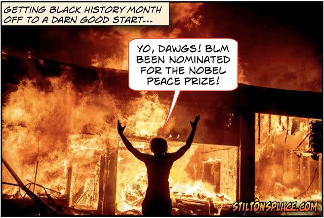 stilton's place, stilton, political, humor, conservative, cartoons, jokes, hope n' change, BLM, Nobel Peace Prize, Violence, Black History Month
