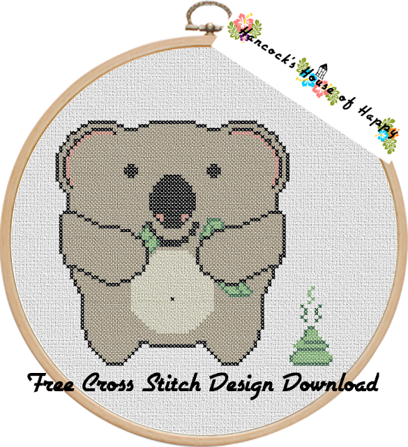 Do Koalas Poop in the Woods? Cuddly Hungry Koala Cross Stitch Pattern Free to Download