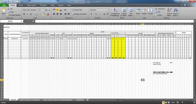 Format Laporan Bulanan SD dengan File Microsoft Office Excel
