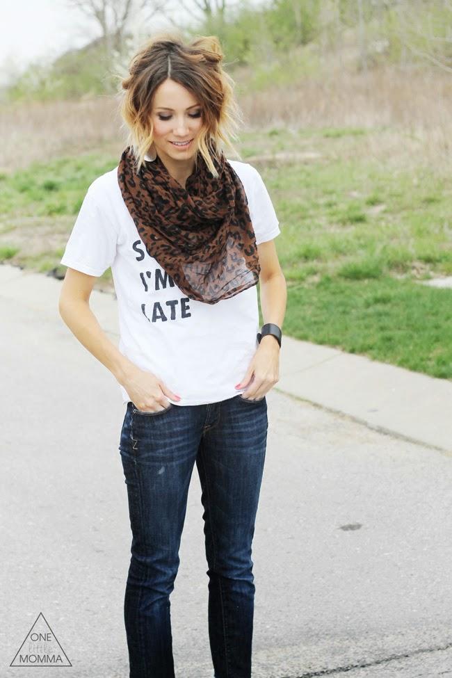 White graphic tee, leopard scarf, dark denim and wedge sandals