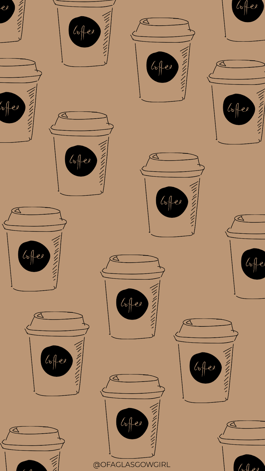 Autumn phone wallpaper or instagram template with a repeated pattern of coffee cups on it.