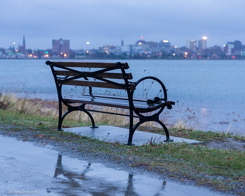 Portland, Maine USA December 2018 photo by Corey Templeton. The city from across Back Cove on a rainy winter morning