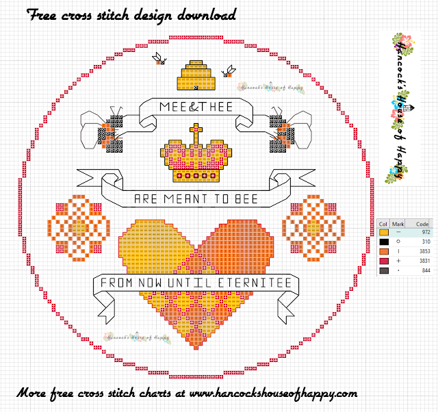 Free Bee Hive and Hearts Cross Stitch Sampler Pattern for Valentines
