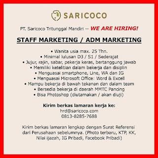 Staff Marketing di PT Saricoco Tritunggal Mandiri