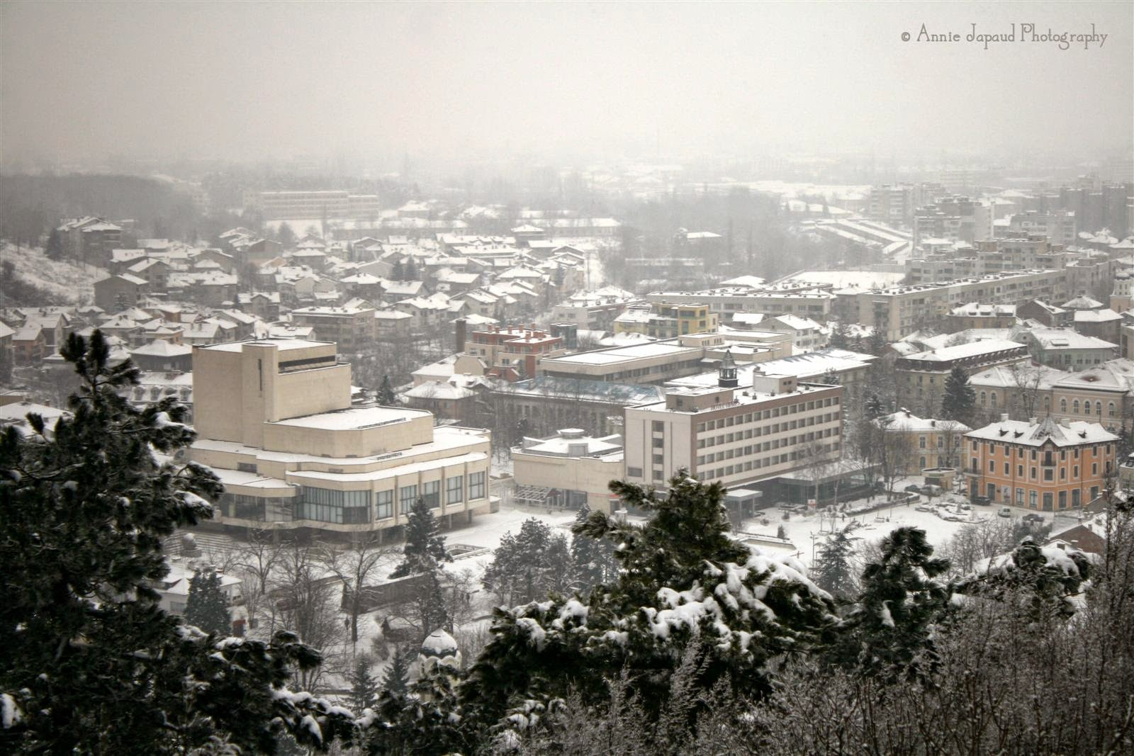 snow view of the town square of Vratsa, Bulgaria