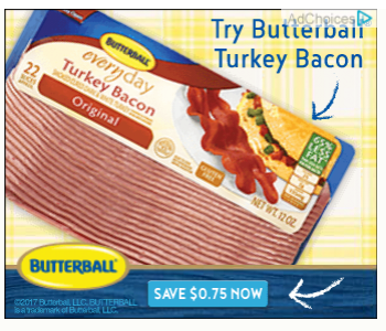 graphic about Butterball Coupons Turkey Printable identified as  Butterball Turkey Bacon  : *Sizzling* $0.75/1 printable