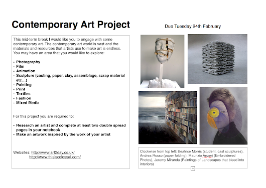 Contemporary Art Project - 5th Yrs