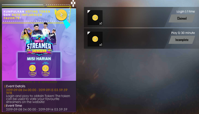 Cara Mendapatkan Token Mark Of Lightning Event Free Fire Showdown Streamer